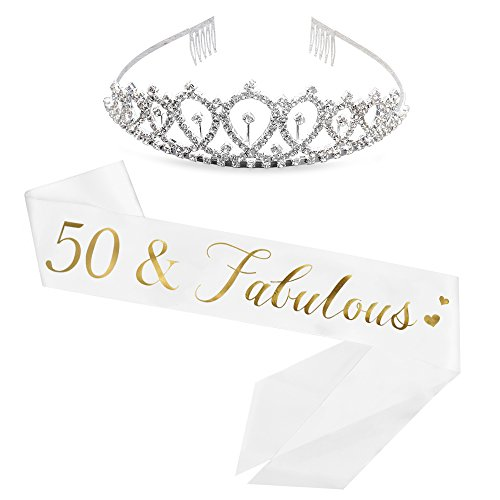 50 and Fabulous Sash & Rhinestone Tiara Kit - 50th Birthday Sash 50 Birthday Gifts Party Favors, Supplies and Decorations (50th Birthday Sashes And Tiaras)