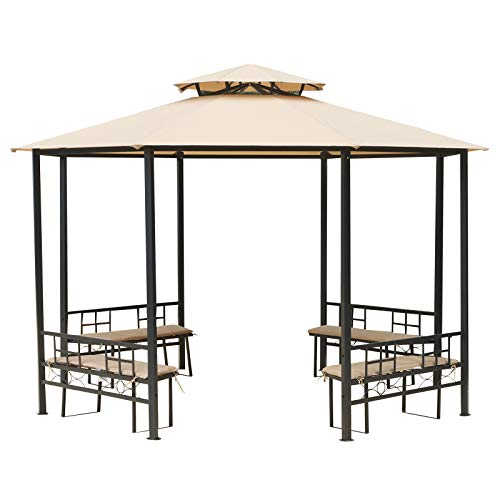- Outsunny 12.5' Outdoor Octagon Patio Gazebo Pavilion Canopy Tent with Benches - Light Brown