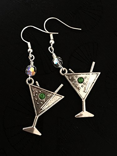 Martini Earrings, Swarovski Crystal Martini Dangles, Cocktail Earrings, Girls Night Out Jewelry, Party Earrings, Martini Lover Earrings.