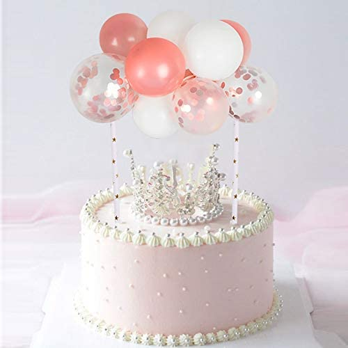 Rose Gold Confetti Balloon Cloud Cake Topper Mini Balloon Garland Cake Topper Decoration for Girl 1st Birthday Cake Wedding Cake Decoration Baby Shower Cake Bridal Shower Cake Party Decoration Balloons Cake Topper