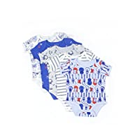 Rosie Pope Baby Bodysuits 5 Pack, Blue Guitar, 0-3 Months