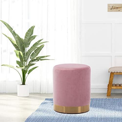 DAGONHIL Modern Round Velvet Ottoman,Upholstered Make-up Short Stool