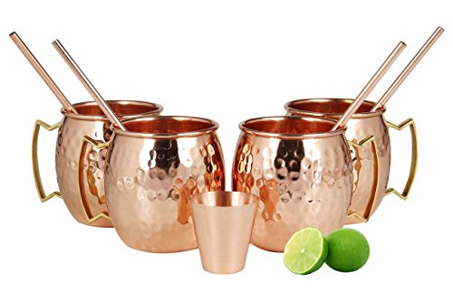 Smirnoff Lime Vodka - Moscow Mule Copper Mugs - Set of 4-100% HANDCRAFTED Food Safe Pure Solid Copper Mugs - 16 oz with BONUS: Highest Quality 4 Cocktail Copper Straws and 1 Shot Glass!