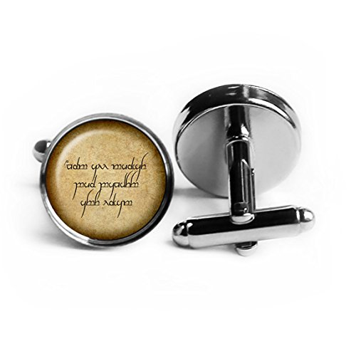 J.R.R. Tolkien Elven Elf Runes Not all those who wander are lost. Rhodium Plated Silver Cufflinks