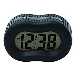 Timelink Smartlight Digital Rubber Outer Shell Alarm Clock for Bedrooms Travel, for Men Women, Simple Operation, Automatic Green Smart Night Light Dimmer, Large 1 Display, Snooze, Small, Black