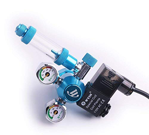 (CO2 Regulator Aquarium Mini Dual Gauge Display with Bubble Counter and Check Valve w/Solenoid 110V Fits Standard US Tanks Easy to Adjust CO2 Level Comes w/Tools)
