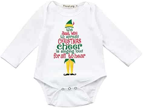 c963ce9d2742 LNGRY Newborn Baby Boy Girl Christmas Tree Letter Romper Jumpsuit Outfit  Clothes