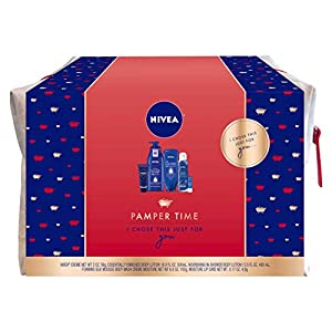 NIVEA Pamper Time Gift Set – 5 Piece Luxury Collection of Moisturizing Products and Travel Bag Included