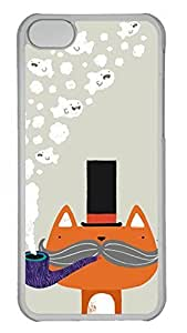 Hard Transparent Plastic Protective Case Shell for iPhone 5C,Cute Case Back Cover for iPhone 5C Printed by Cute Fox with Pipe