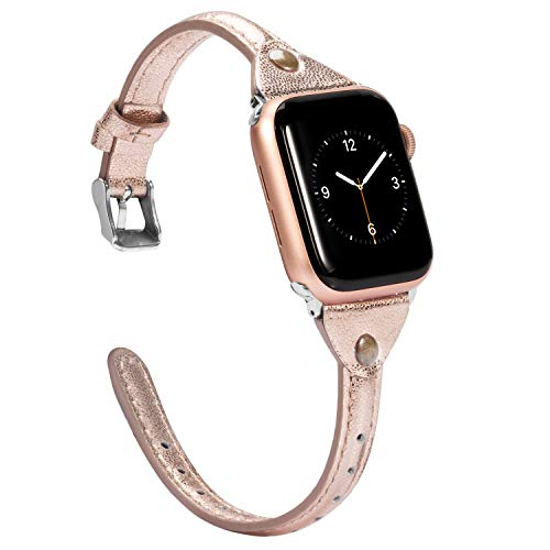 - Wearlizer Rose Gold Thin Leather Compatible with Apple Watch Bands 38mm 40mm iWatch Womens Narrow Strap with Rivet Slim Sleek Stylish Cute Dressy Wristband (Silver Clasp) Series 4 3 2 1 Edition Sport