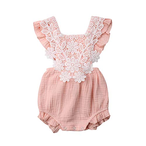 Newborn Baby Girl Romper Summer Sleeveless Backless Ruffle Lace Bodysuit Outfits Clothes Pink (Lace Romper Baby Pink)