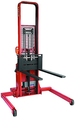 Wesco-Industrial-Products-261050-Fixed-Base-Leg-Fork-Model-Powered-Stacker-2000-lb-Load-Capacity-64-Lift-Height-50-Inside-Base-Leg-Span-83-Overall-Height