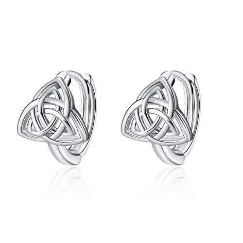 WINNICACA Triangle Celtic Knot Earrings Sterling Silver Luck Irish Hugie Hoop Earrings Jewelry Gifts for Women Girls Birthday