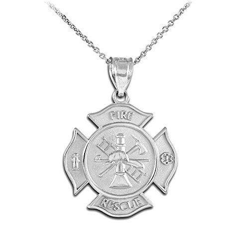 Sterling Silver Fire Rescue Maltese Cross Firefighter Badge Necklace ()