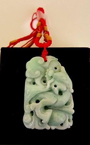 Jadeite Jade Pendant Dragon Hand And Ruyi (Grade A), Green Jade Pendant, Jade Carving, Chinese Collectiables, Natural Burma Jade (Green Jade Carving)