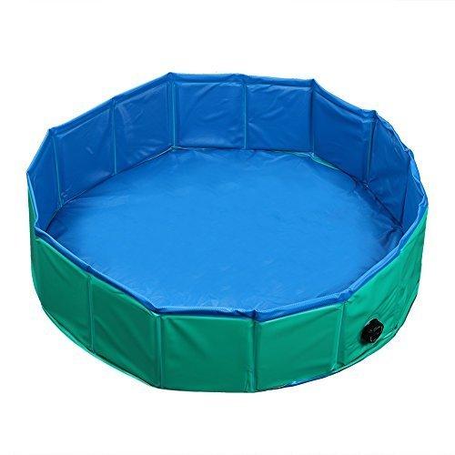 Fuloon Foldable Pet Swimming Pool Bathing Tub Bathtub Dog Cats Washer (M, Green)