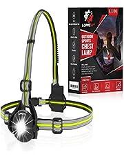 LUMEFIT Hardloopverlichting, Hardlooplicht, Borst LED-lamp - 90° verstelbare stralingshoek, 360 graden reflecterende band, USB oplaadbaar - Zaklamp om te rennen