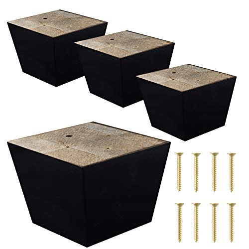 ComfortStyle Furniture Legs for Sofa Chair Couch or Ottoman, Set of 4 Replacement Feet, 3 Inch Tall, Square with Tapered Sides, Dark Espresso Finish (Short Couch)