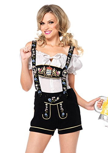 Leg Avenue Women's 2 Piece Edelweiss Lederhosen Costume, White/Black, Medium (Lederhosen Fancy Dress Costumes)