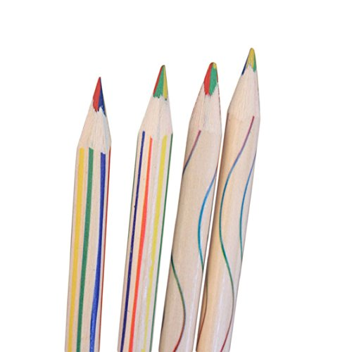 4in 1 Colour - Towallmark(TM) 10pcs Rainbow Color Pencil 4 in 1 Colored Pencils For Drawing Stationery