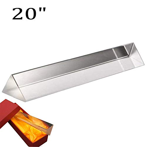 HomDSim 1.64ft Optical Glass Crystal Triangular Prism, for Teaching Light Spectrum Physics and Photo Photography Prism,Rainbow Maker,Reflection Filter Light Flare,Sun Catcher Multi Colors ()