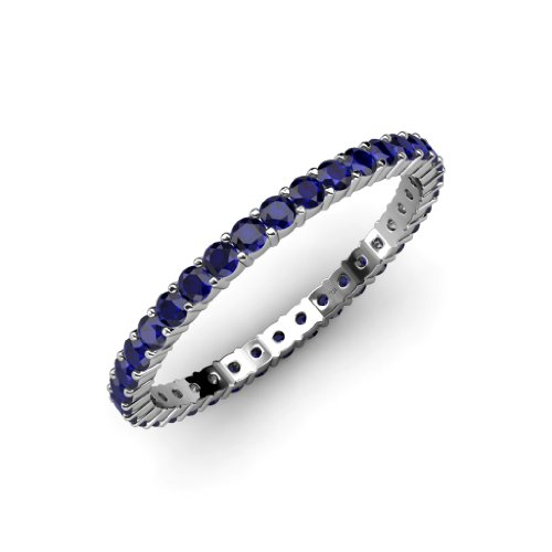Blue Sapphire Common Prong Eternity Band 0.79 ct tw to 1.01 ct tw in 14K Gold.