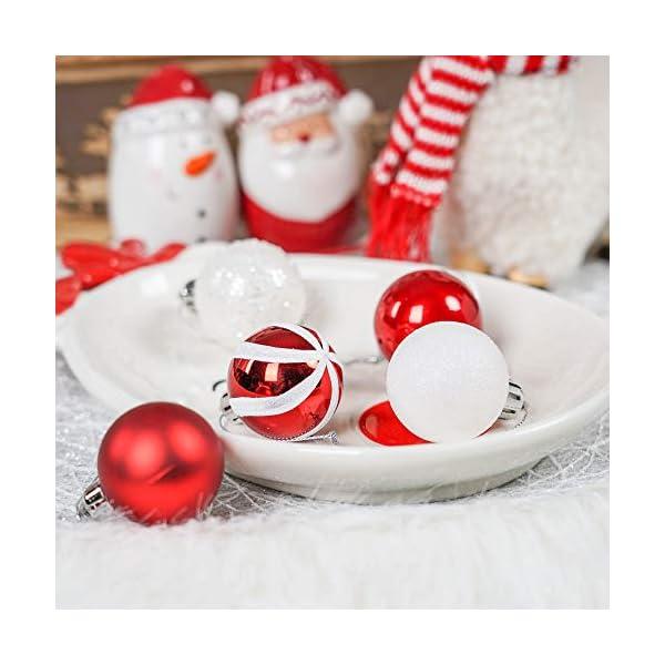 Valery Madelyn Palle di Natale 40 Pezzi 4 cm Palline di Natale, Decorazioni Tradizionali Rosse e Bianche Infrangibili con Palle di Natale per Decorazioni per Alberi di Natale 5 spesavip