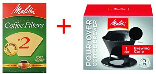 Melitta Ready Set - Bundle - Melitta Ready Set Joe Single Cup Pour Over Coffee Brewer Maker, Black + #2 Natural Brown Cone Coffee Filters 100-Count