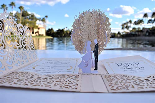 Pop up Wedding Invitation Pocket-folds With Envelope. Unique and Elegant Laser Cut 3D Design by Tada Cards