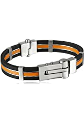 Cold Steel Men's Stainless Steel and Leather Bracelet, 7.5""