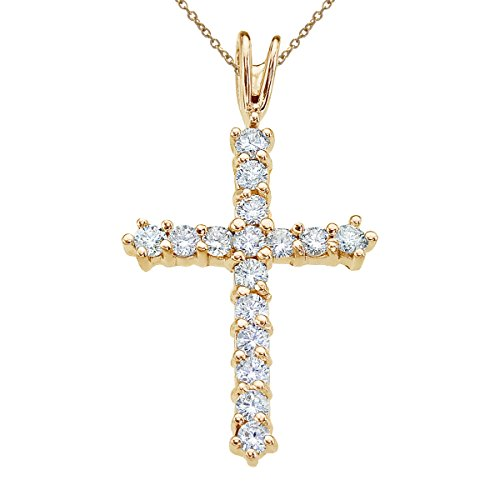 14k Gold Mens Diamond Cross (14K Yellow Gold Straight 0.50 Ct Diamond Cross Pendant with 18