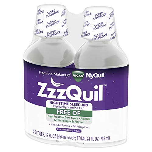 ZzzQuil Nighttime Sleep Aid, Alcohol Free Soothing Mango Berry Liquid, 2x12 Fl Oz
