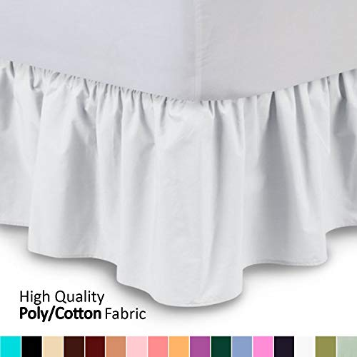 Ruffled Bedskirt (Full, White) 18 Inch Bed Skirt with Platform, Wrinkle and Fade Resistant - by Harmony Lane (Available in All Bed Sizes and 16 Colors) ()