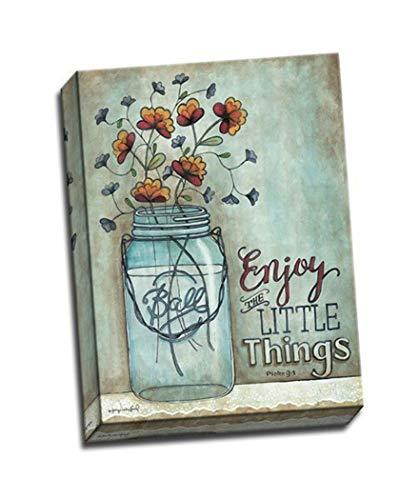 BABE MAPS Canvas Painting Print Wall Art - Ball Mason jar with -