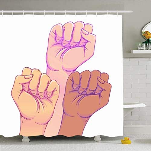 Ahawoso Shower Curtain 66x72 Inches Activist Power Fight Like Girl Hands Strong Fist Feminism Day Rights Feminist Hand Waterproof Polyester Fabric Set with Hooks