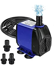 Submersible Fountain Pump, Submersible Water Pump, Adjustable Ultra Quiet Fountain Pumps Submersible Outdoor with Power Cord, Nozzles for Aquarium, Fish Tank, Pond, Statuary, Hydroponics