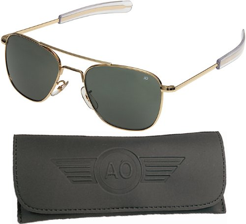 AO General Sunglasses, Gold, Bayonet, Grey Glass Lenses, 52mm, Polarized FlGGen-G-TCGPG-BNT-52 by AO