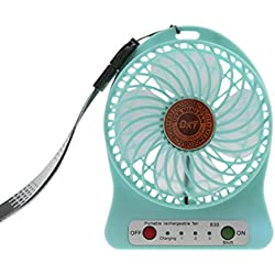 3 Speed Mini Fan Quiet Handheld Desktop Fan, Electric Rechargeable Battery/ USB Cooling Fan Laptop PC Mute Cooler Table Fan, Wall Mountable Cooling Fan, Ideal for Home,Office,Outdoor Use (Blue)