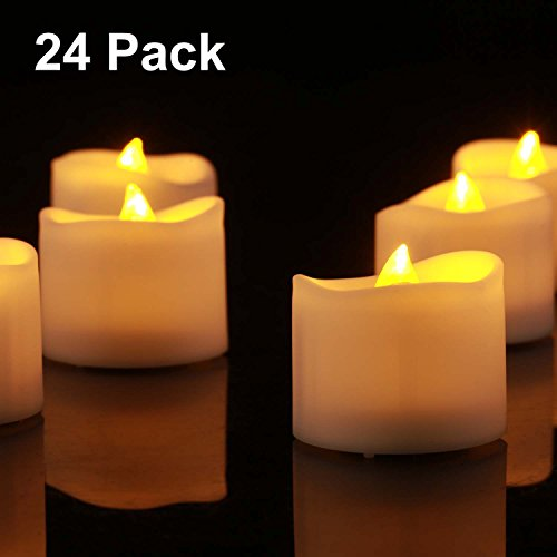 Flameless LED Tea Lights, Battery Operated Candles for Festival Celebration & Decoration, Flickering Tealight Candles with Melted Edge and Warm Yellow Light … (Battery Flicker Candles)