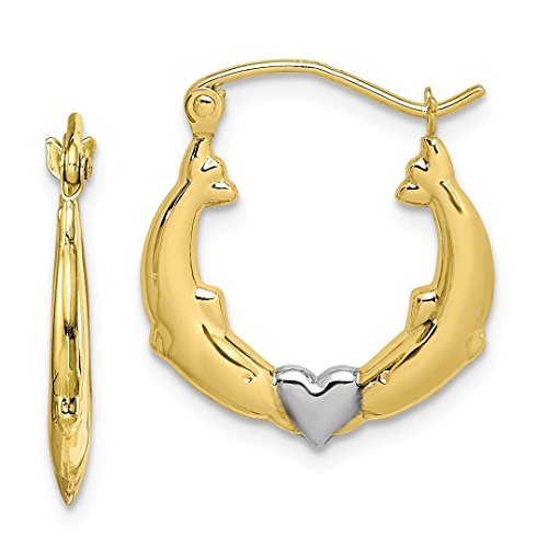 10k Yellow Gold Dolphin Heart Hoop Earrings Ear Hoops Set Animal Sea Life Fine Jewelry For Women Gift Set