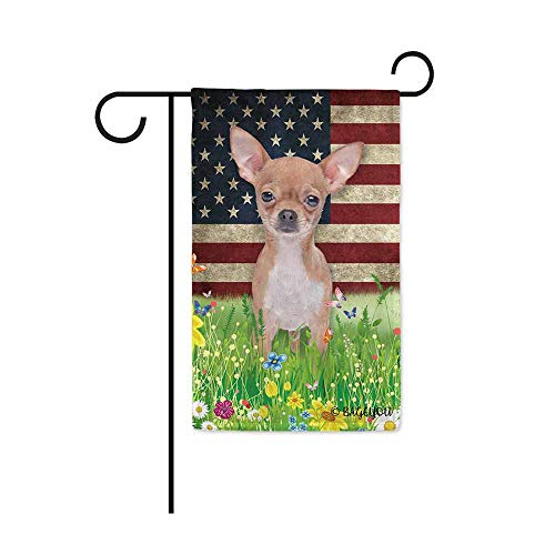 Chihuahua Garden Flag - BAGEYOU Cute Puppy Chihuahua Garden Flag Lovely Pet Dog American US Flag Wildflowers Floral Grass Spring Summer Decorative Patriotic Banner for Outside 12.5x18 inch Printed Double Sided