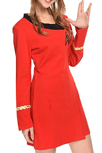 Wecos Women Halloween Dress Tos Costume Duty Uniform, Red, XX-Large -