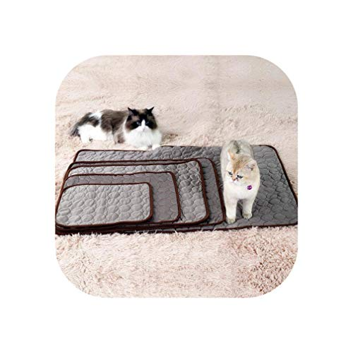 (Summer Dog Cooling Mats Blanket Ice Pet Bed Mats for Dogs Cats Sofa Portable Tour Camping Yoga Sleeping Pet Accessories 23,Brown,100x70cm)