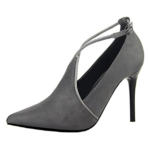 HooH Damen Wildleder Pointed Toe Cross Strap Schnalle Stiletto Pumps Grau