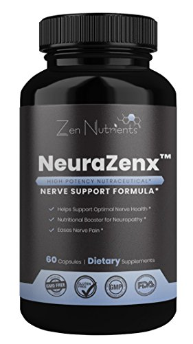 (NeuraZenX Nerve Pain Relief Supplement - The Most Comprehensive Daily High Potency Neuropathy and Nerve Support Formula for Neuropathy, Shingles, Fibromyalgia - 100% Natural & GMO Free - 60 Caps)