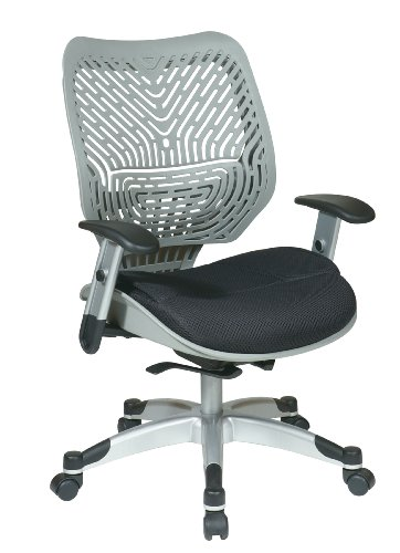 SPACE Seating REVV Self Adjusting SpaceFlex Fog Backrest Support and Padded Raven Mesh Seat with Adjustable Arms and Platinum Finish Base Managers Chair