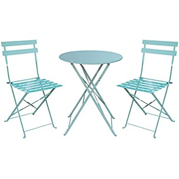 HollyHOME Outdoor Balcony Folding Steel Bistro Furniture Sets, Patio  3 Piece Of Foldable Table