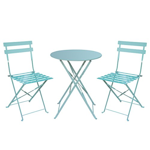 HollyHOME Outdoor Balcony Folding Steel Bistro Furniture Sets, Patio 3-Piece of Foldable Table and Chairs, Light Green