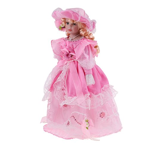 - SM SunniMix 40CM Porcelain Doll Collectible Miniatures Beautiful, Victorian Lady Doll Wearing Pink Gown with Ruffles at The Neckline, Hat with Flower on Top