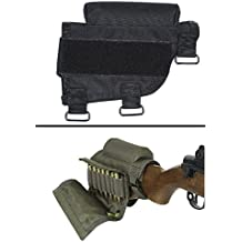 Ultimate Arms Gear Rifle Ammo Round Shot Shell Cartridge Hunting Stock Buttstock Cheek Rest Carrier Case Holder Fits .308 300 Winmag Federal Arms HK91 G3 Models, Black